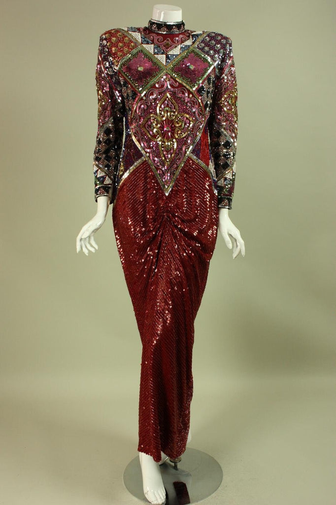 Vintage 1980's Red Sequined Silk Gown