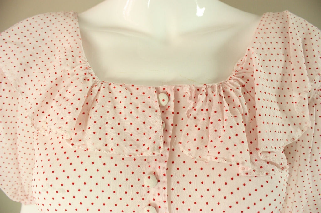 1940's Gown White & Red Polka-Dotted Cotton Vintage - regenerationvintageclothing