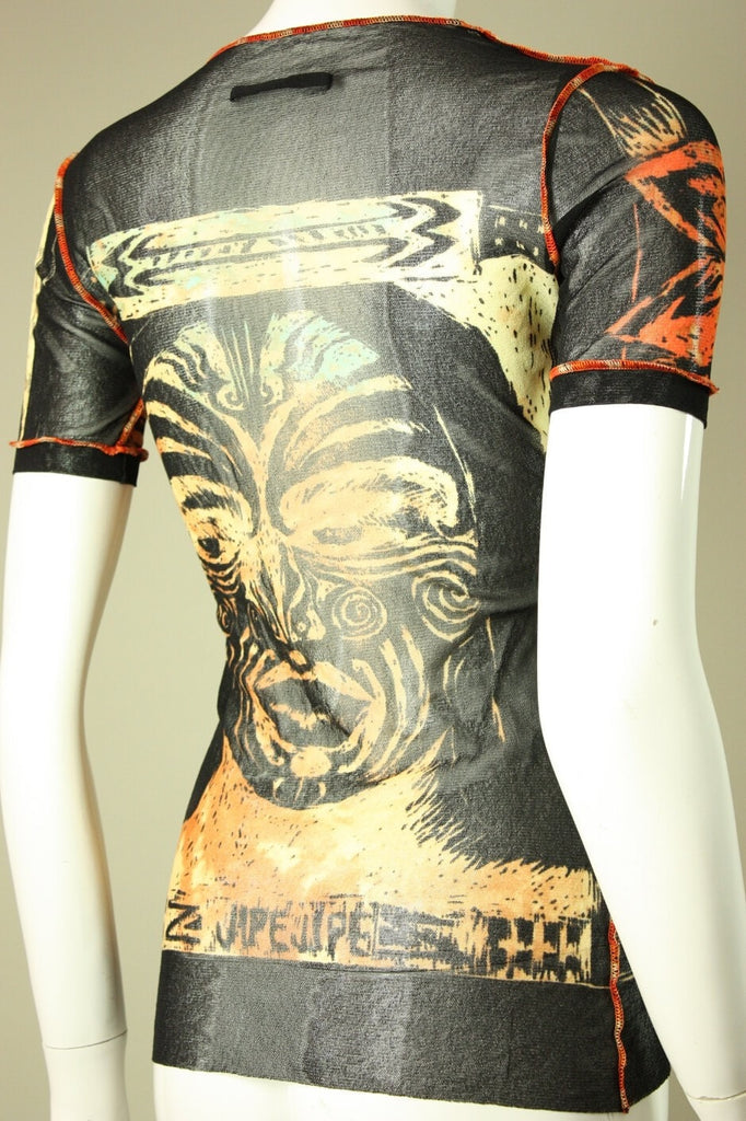 Jean-Paul Gaultier Top 1990's Sheer Nylon Tattoo  Vintage - regenerationvintageclothing