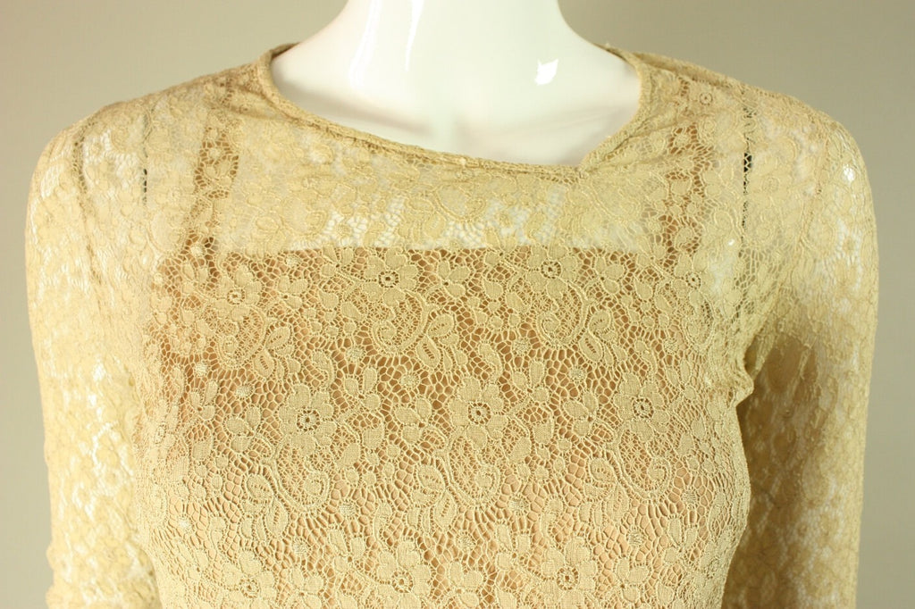 1920's Dress Beige Lace Dress with Drop Waist Vintage - regenerationvintageclothing
