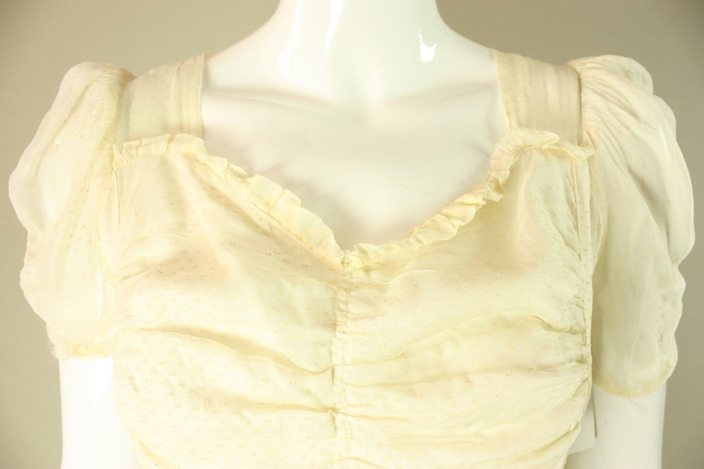 1940's Gown Beige Ruffled Organza Vintage - regenerationvintageclothing