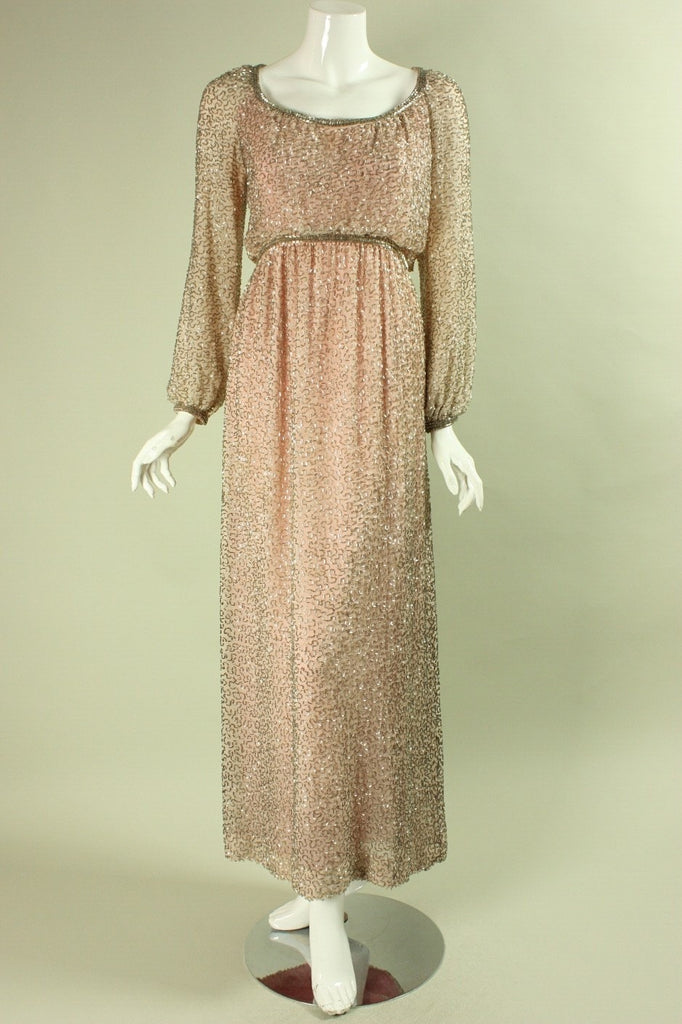 1960's Gown Victoria Royal Beaded Pink Chiffon Gown Vintage - regenerationvintageclothing