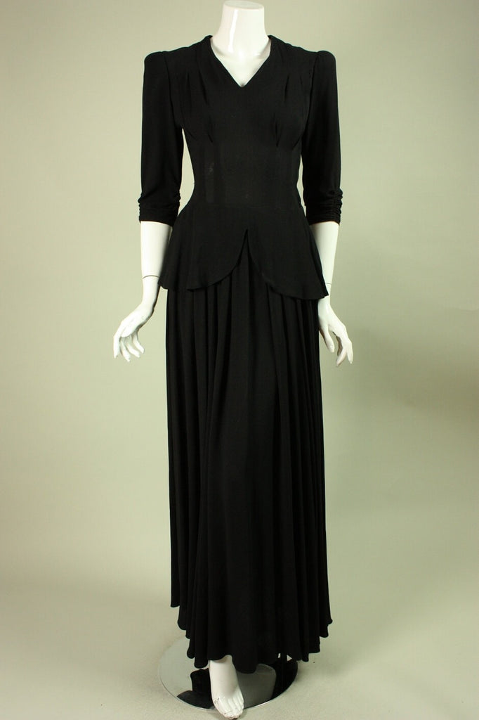 Vintage 1940's Black Rayon Gown with Peplum