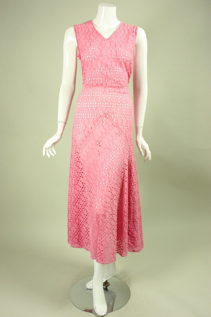 1930's Dress Pink Cotton Eyelet Vintage - regenerationvintageclothing