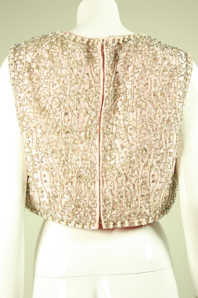 1960's Bodice Pink Satin Beaded Vintage - regenerationvintageclothing