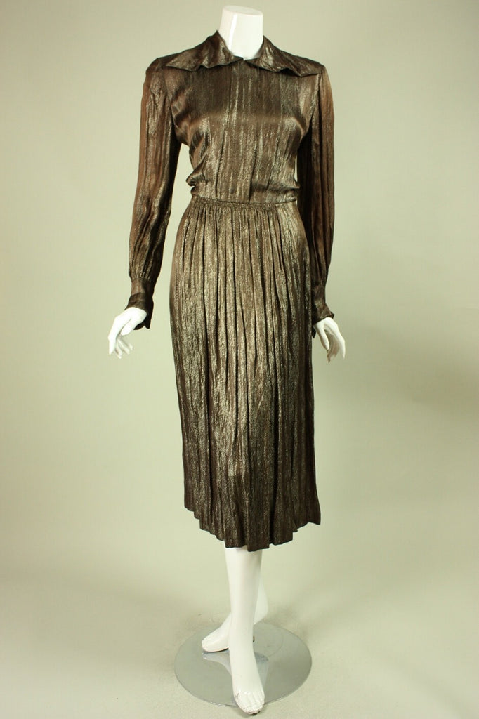 1940's Dress Gold Metallic Cocktail Vintage - regenerationvintageclothing