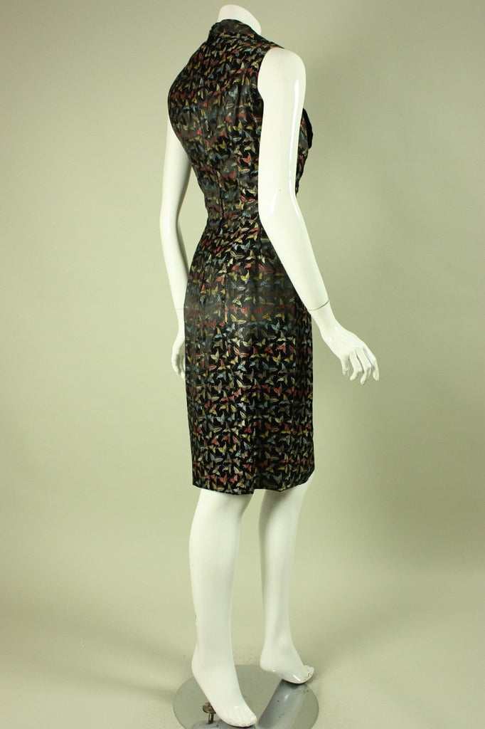 1950's Dress Black Multicolored Butterfly Vintage - regenerationvintageclothing