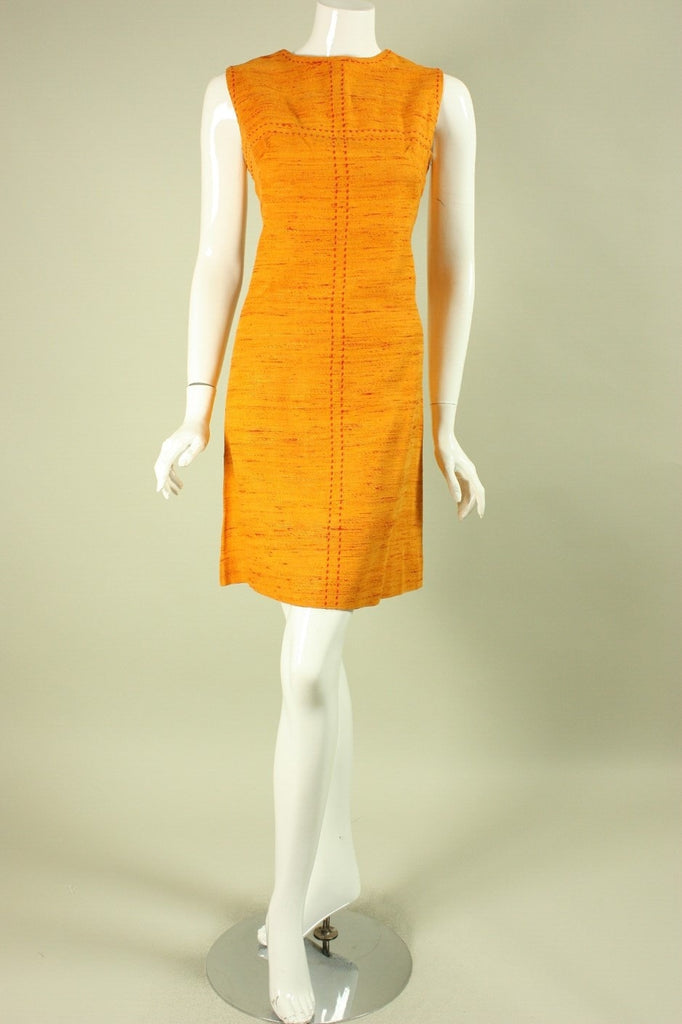 1960's Day Dress Orange with Red Fleck Vintage - regenerationvintageclothing
