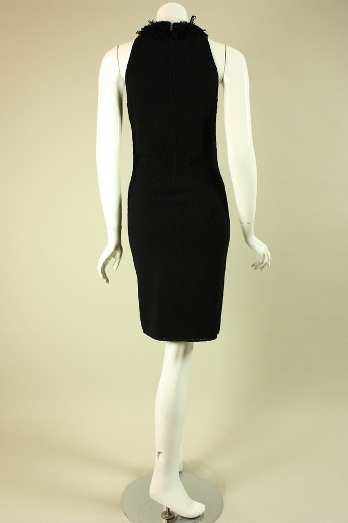 1960's Dress Black Sleeveless Knit Vintage - regenerationvintageclothing