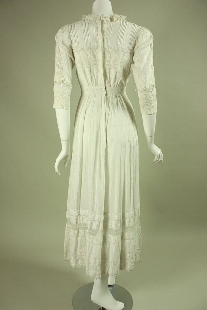 Edwardian Tea Dress White Cotton Vintage - regenerationvintageclothing