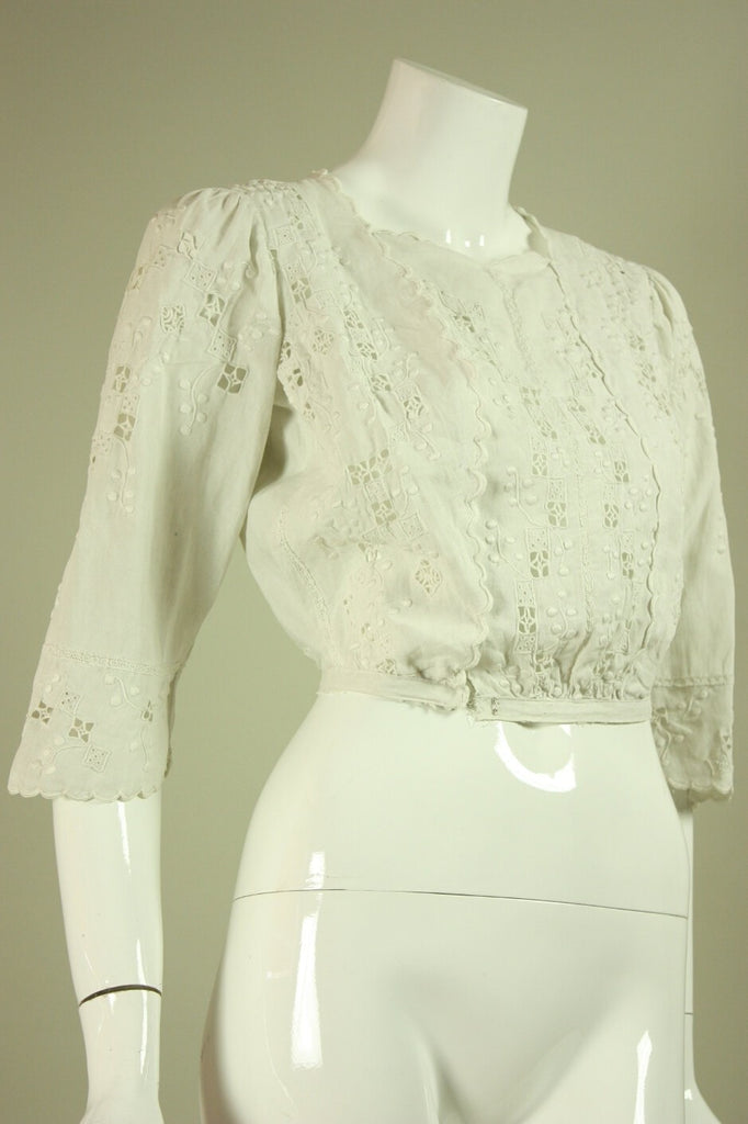 Edwardian Linen Blouse with Openwork