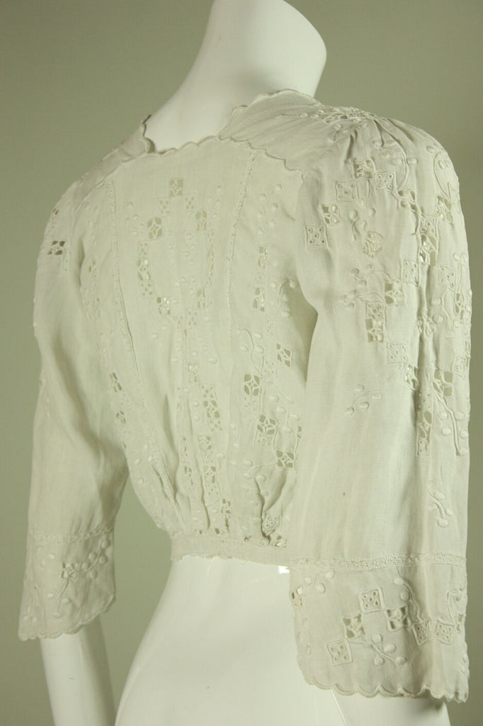 Edwardian Blouse Linen with Openwork Vintage - regenerationvintageclothing