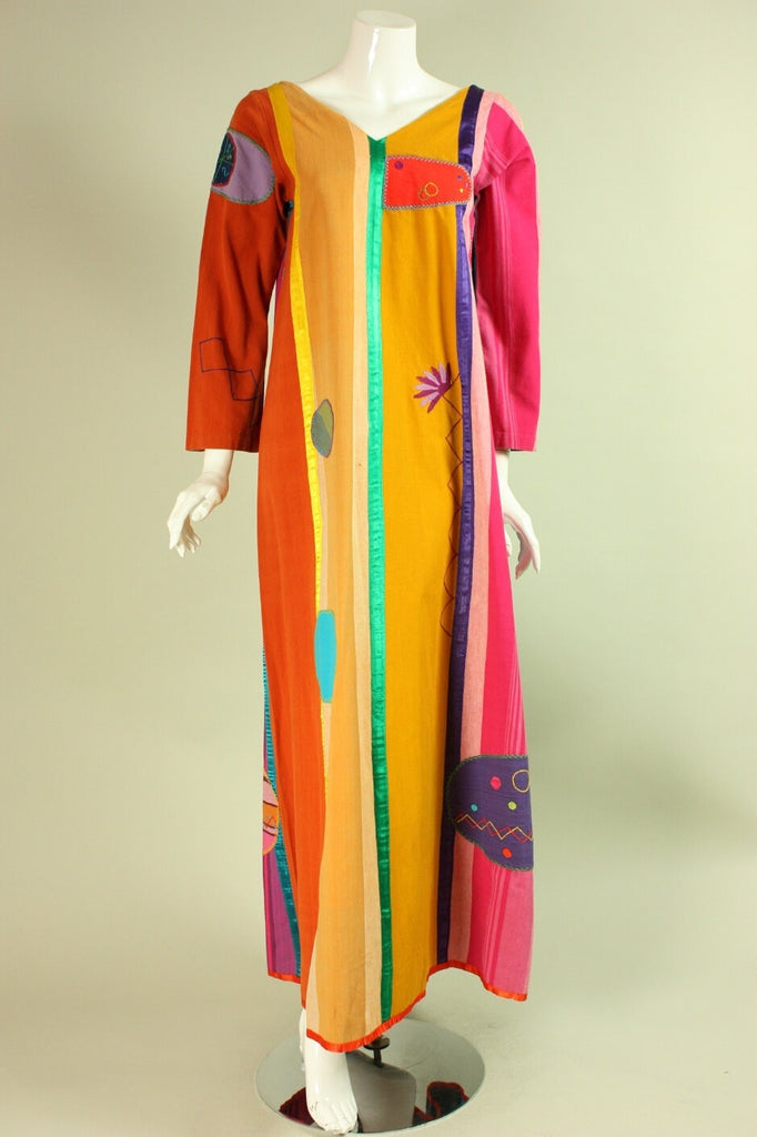 Vintage 1970's Josefa Multicolored Embroidered Dress