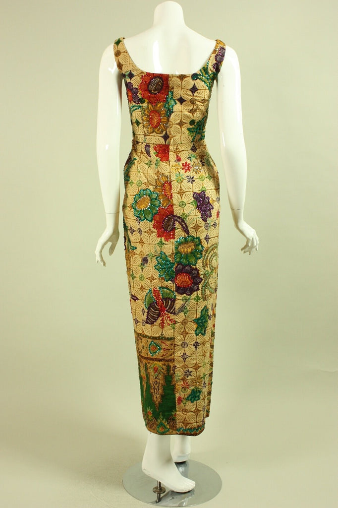 1950's Dress Batik Sequined & Beaded Vintage - regenerationvintageclothing