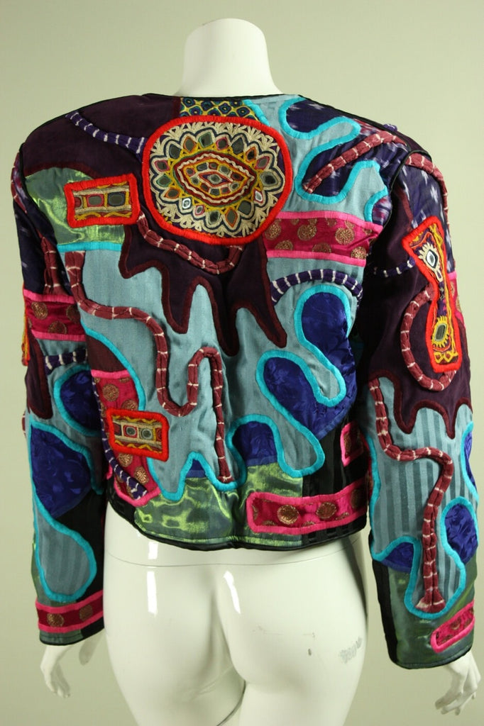 1980's Jacket Judith Roberts with Embroidery & Shisha Mirrors Vintage - regenerationvintageclothing