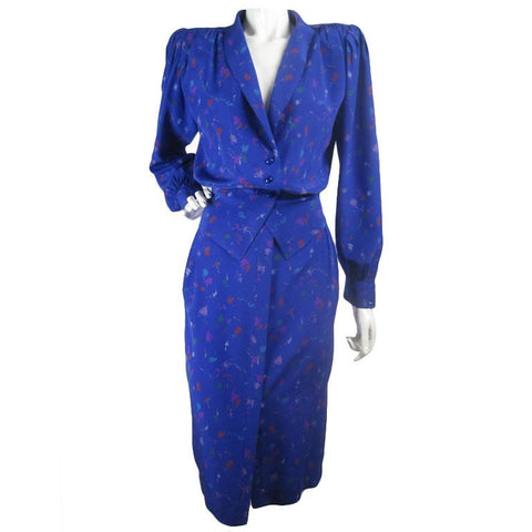 Ungaro Skirt Suit 1980's Silk Vintage - regenerationvintageclothing