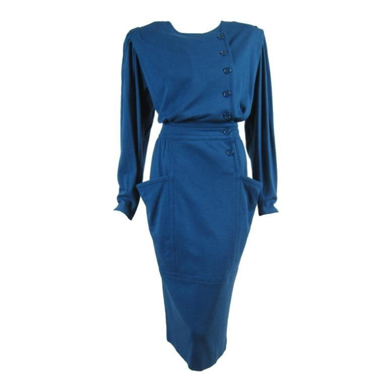 Vintage Clothing: 1980's Teal Ungaro Dress