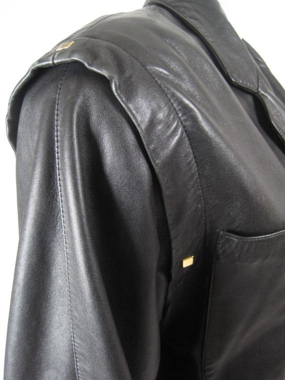 Vintage 1980's Complice Black Leather Jacket With Gold Hardware