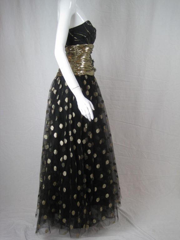 Vintage 1980's Fred Hayman Strapless Gown with Matching Shawl