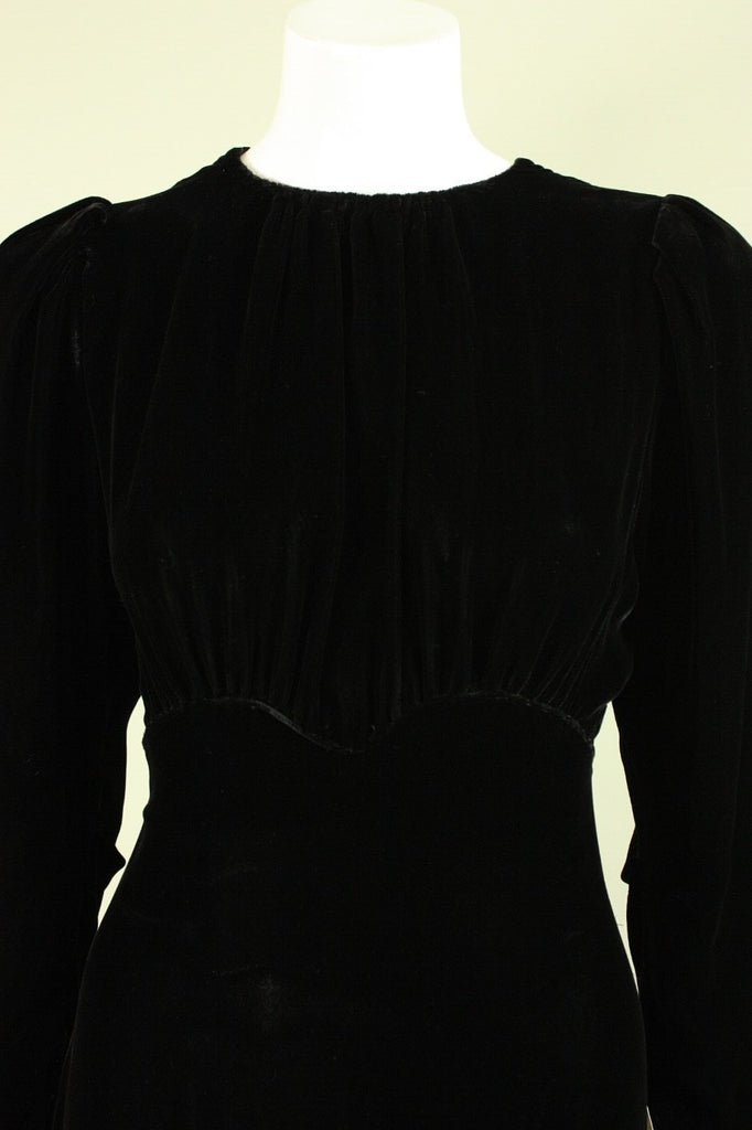 Vintage 1930's Black Velvet Bias Cut Gown