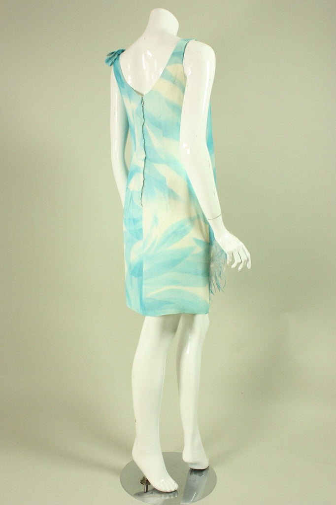 1960's Cocktail Dress Light Blue Feathered Vintage - regenerationvintageclothing