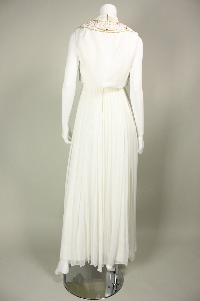 1960's Gown White Chiffon Beaded with Bolero Vintage - regenerationvintageclothing