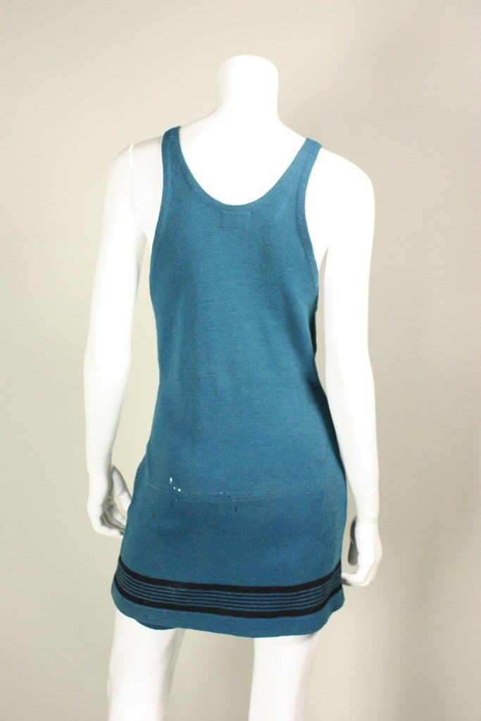1920's Swimsuit Teal Wool Vintage - regenerationvintageclothing