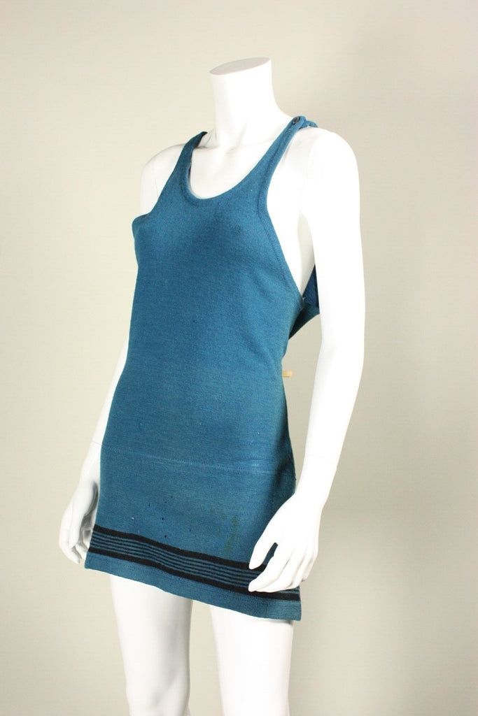Vintage 1920's Teal Wool Swimsuit