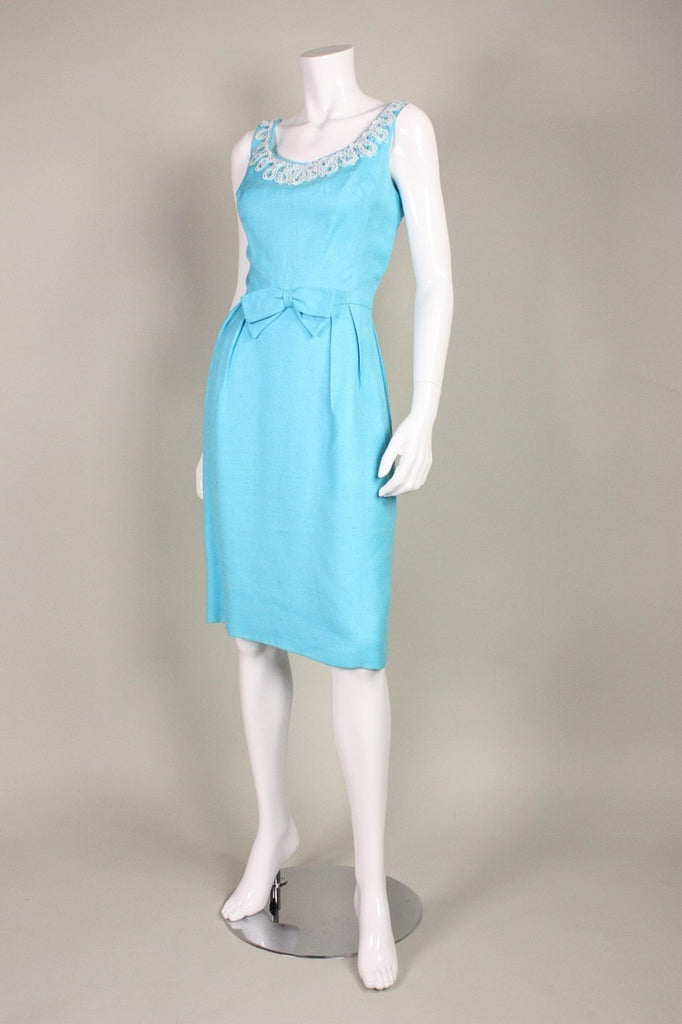 1950's Cocktail Dress Mardi Gras Turquoise Vintage - regenerationvintageclothing