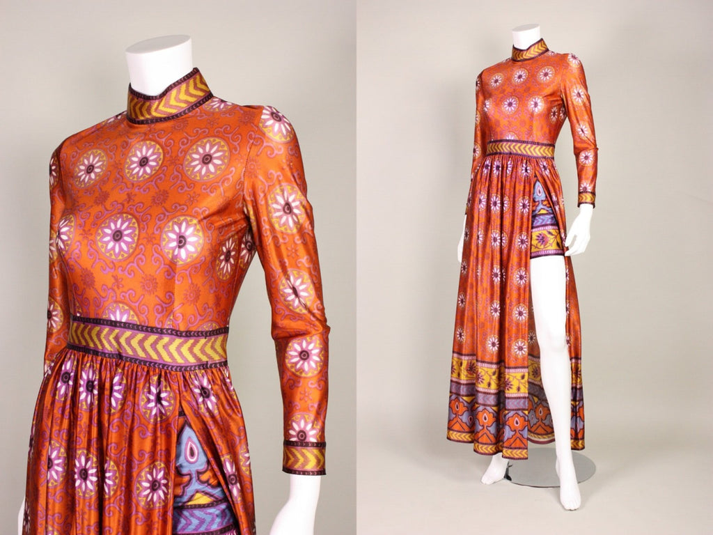 1970's Maxi Dress With Shorts Jersey Vintage - regenerationvintageclothing
