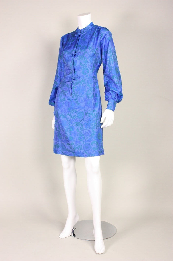 1960's Dress Blue Silk Printed Vintage - regenerationvintageclothing