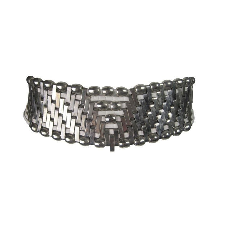 Vintage 1980's Jose Cotel Hammered Metal Couture Belt