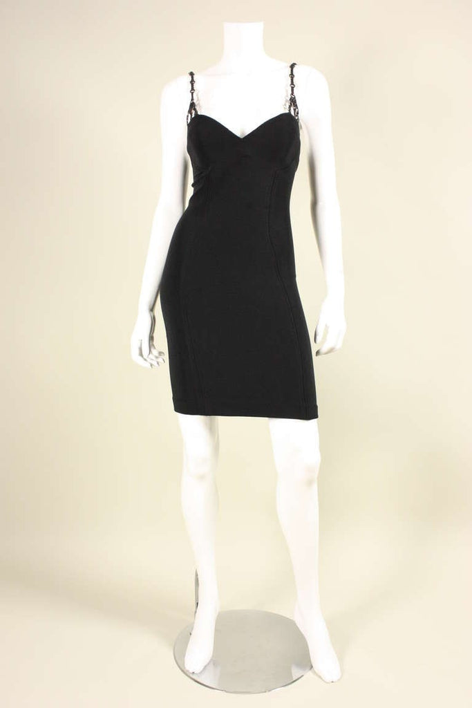 Versace Dress 1990's Sculpted with Leather Straps Vintage - regenerationvintageclothing