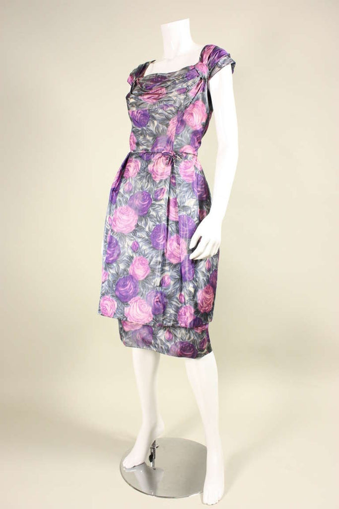Vintage Dresses - Vintage 1950's Watercolor Floral Cocktail Dress