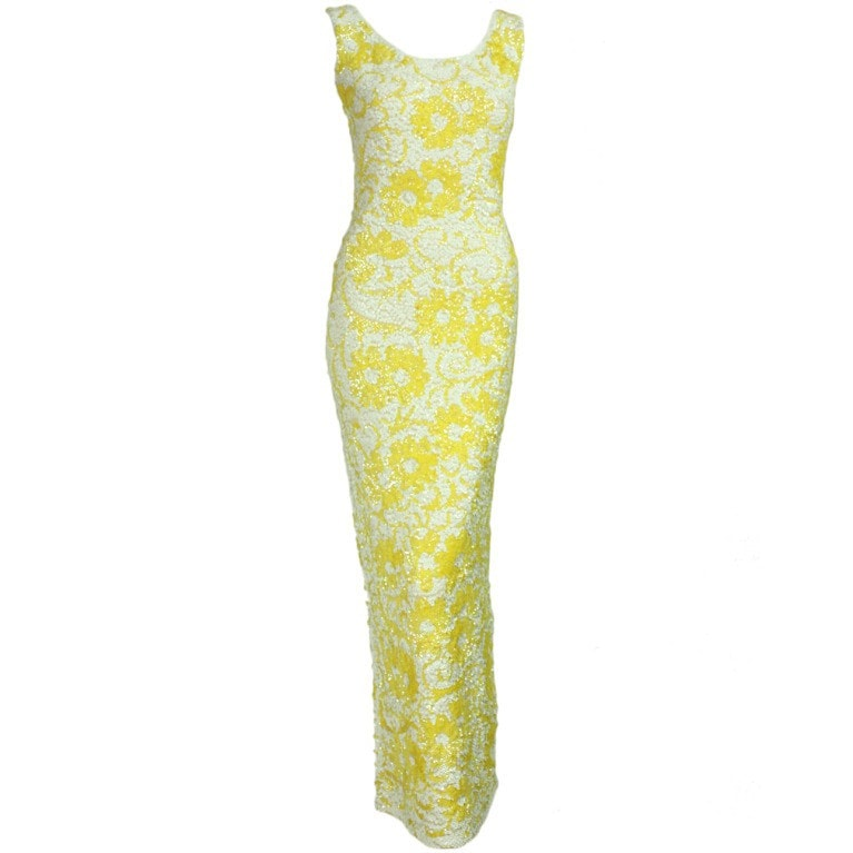 Vintage Clothing: 1950's White & Yellow Floral Sequined Gown