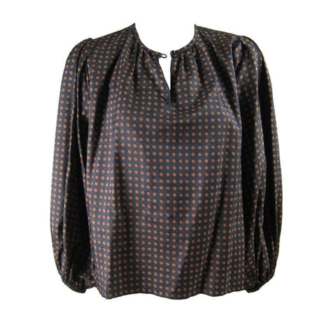 Yves Saint-Laurent Blouse 1970's Silk Peasant Vintage - regenerationvintageclothing