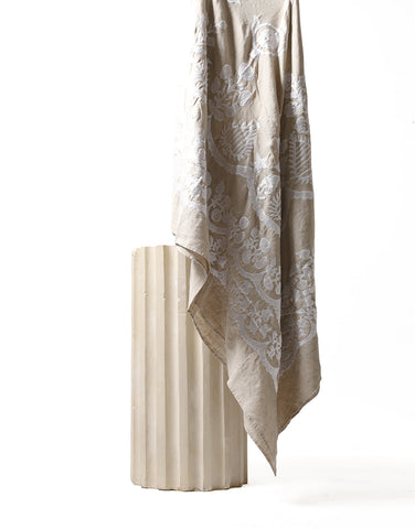 Embroidered Linen Throw - Natural