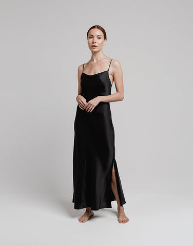 Silk Maxi Slip - Black