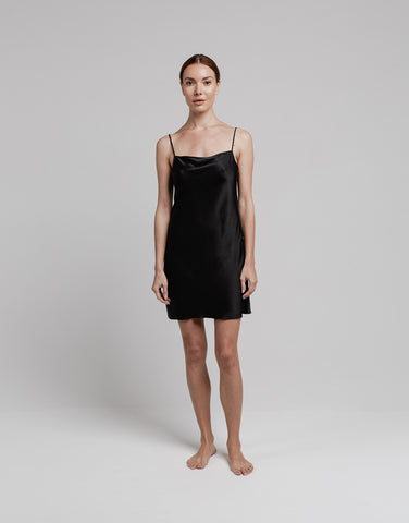 Silk Mini Slip - Black