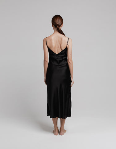 Silk Midi Slip - Black