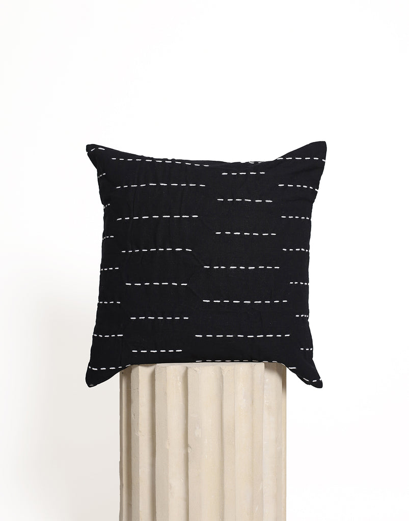 Stitch Cushion Cover - Black with White