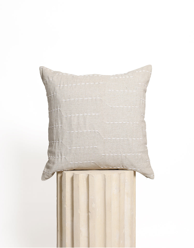 Stitch Cushion Cover - Natural with White