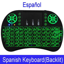 Charger l'image dans la galerie, 7 color backlit i8 Mini Wireless Keyboard 2.4ghz English Russian 3 colour Air Mouse with Touchpad Remote Control Android TV Box