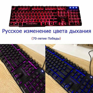 DBPOWER Russian/English Gaming Keyboard Suspended Keycaps 3 Backlight Switching Teclado Gamer with Similar Mechanical Touch Feel
