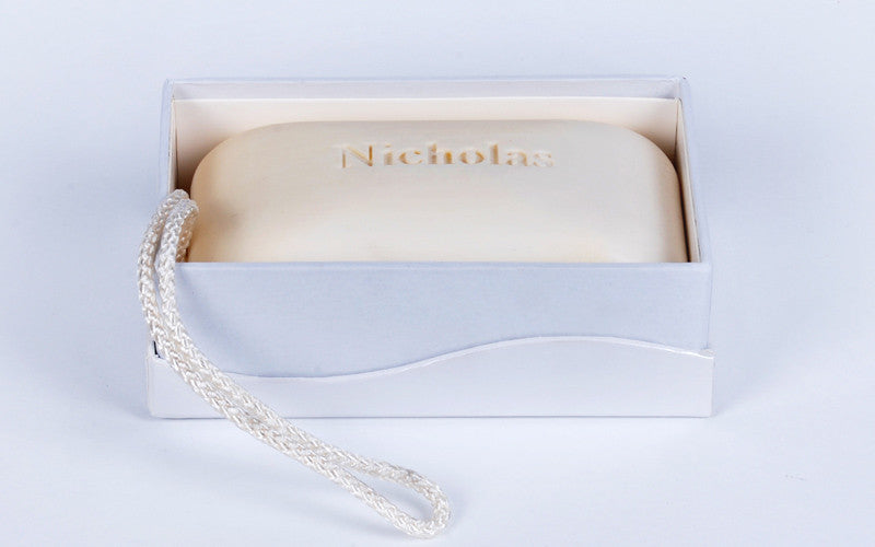 Massage bars – 11 oz personalized engraved scented soaps with rope with monogram, single initial, name/text, graphic/logo – available in 4 fragrances –comes in decorative display box from new hope soap