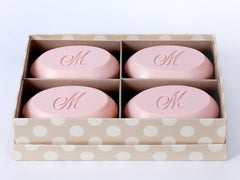 Signature personalized engraved scented soap bars – available in 8 fragrances – personalize one of four ways, with a monogram, single initial, name/text or graphic/custom logo – from New Hope Soap – quad bar box