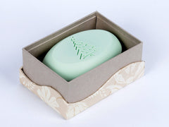 Signature personalized engraved scented soap bars – available in 8 fragrances – personalize one of four ways, with a monogram, single initial, name/text or graphic/custom logo – from New Hope Soap – single bar box