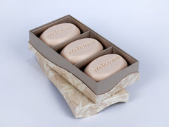 Signature personalized engraved scented soap bars – available in 8 fragrances – personalize one of four ways, with a monogram, single initial, name/text or graphic/custom logo – from New Hope Soap – trio bar box