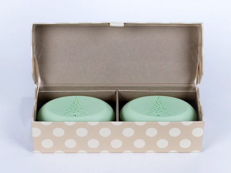 Signature personalized engraved scented soap bars – available in 8 fragrances – personalize one of four ways, with a monogram, single initial, name/text or graphic/custom logo – from New Hope Soap – duo bar box