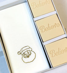 Believe Personalized Scented Guest Soap & Hand Towel Holiday Gift Set